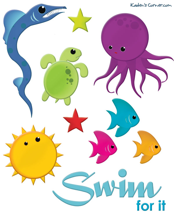 photograph relating to Free Printable Sea Creature Templates known as Less than the Sea Creature Sticker Sheet