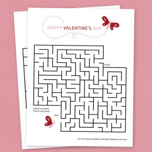 Free Printable Valentine's Butterfly Maze