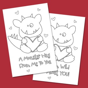 Monster Hugs Coloring Cards