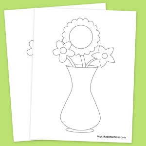 Cute Flower Vase Printable Coloring Sheet