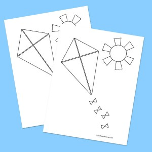 Cute Kite Coloring Page